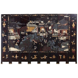 Chinese Export Eight-Panel Lacquer Coromandel Screen For Sale
