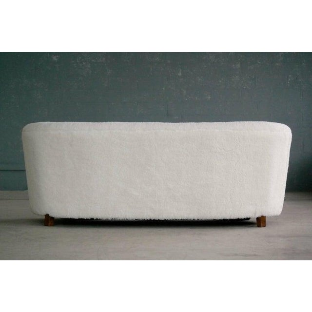 Banana Shape Sofa in Lambswool Attributed to Viggo Boesen For Sale - Image 9 of 10