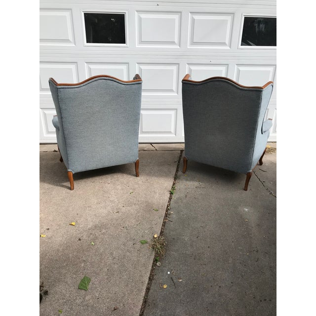 Vintage Light Blue Upholstered Bergere Chairs - A Pair - Image 3 of 10
