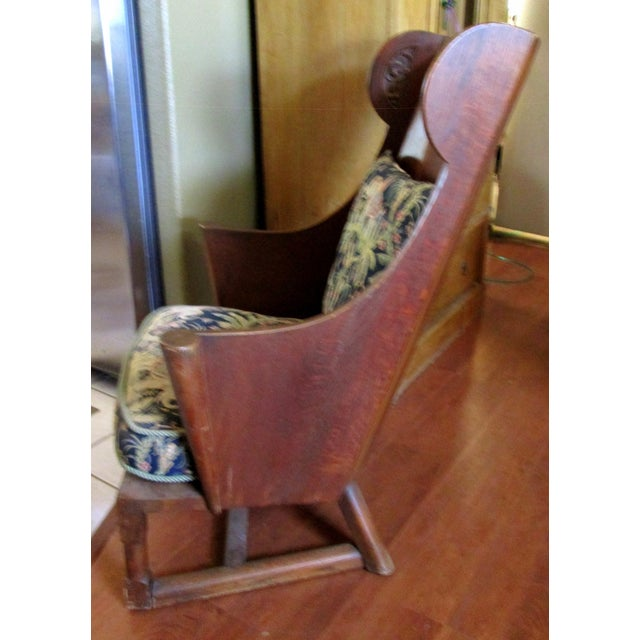 Antique Ornate Carved Wooden Wingback Chair W/ Monkey & Elephant Upholstered Cushions For Sale - Image 9 of 11