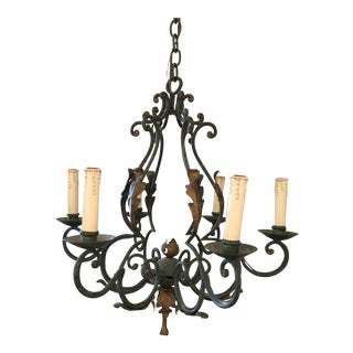 Antique Green and Gold Chandelier