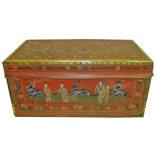 19th Century Leather and Brass Bound Camphor Trunk With Brass Handles For Sale