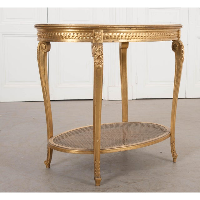 Wood French 19th Louis XVI Style Oval Giltwood Occasional Table For Sale - Image 7 of 13