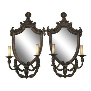 Wood Mirror Brass Electric Candle Wall Sconces - a Pair For Sale