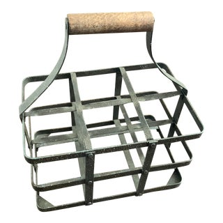 Industrial Metal Wine Caddy With Wood Handle For Sale