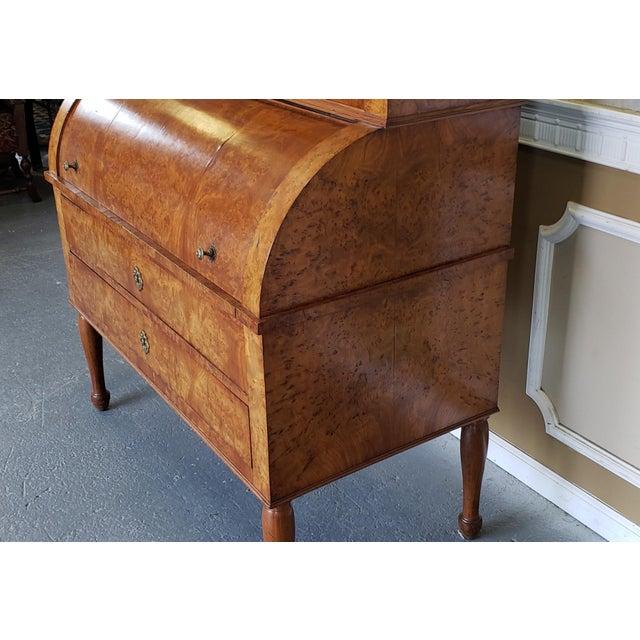 Restored Antique 19th Century Burled Elm Roll Top Cylinder Desk C1860 For Sale - Image 9 of 13