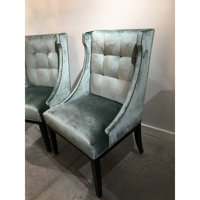 Contemporary Velvet Designmaster Furniture Franklin Host Wing Chairs - a Pair For Sale - Image 3 of 11