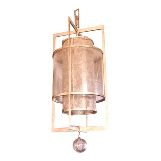 Modern Fine Art Foyer Entrance Lantern Silver Leafed Chandelier For Sale