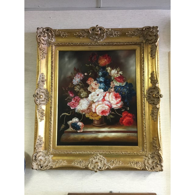 Ornate Floral Oil Painting - Image 2 of 5