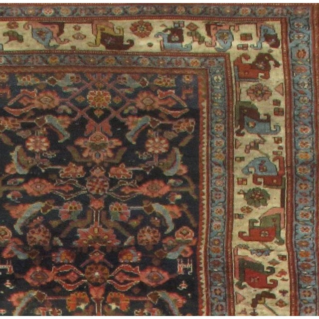 Fine Antique Persian Bidjar Circa 1880 Handmade Hand-knotted Lamb's Wool on a Wool Foundation Vegetable Dyed Hand-Spun...