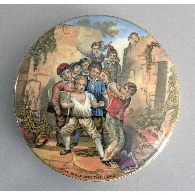 """Antique Prattware Pot Lid """"The Wolf and the Lamb"""" For Sale In Boston - Image 6 of 6"""