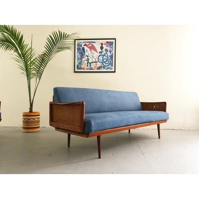 Peter Hvidt Mid Century Modern Peter Hvidt & Orla Mølgaard Nielsen Teak & Cane Sofa Set- 2 Pieces For Sale - Image 4 of 10