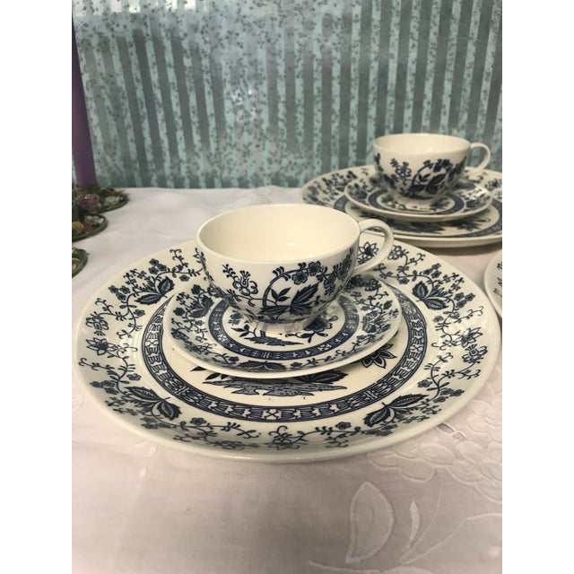 Blue Onion Hand Painted Dinnerware - Service for 3 For Sale - Image 9 of 10