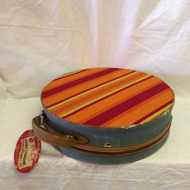 French Vintage Round Carry on Suitcase With Stripes and French Train Label For Sale - Image 3 of 11