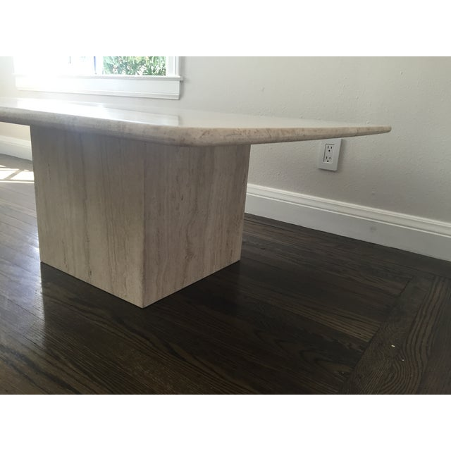 Italian Travertine Marble Coffee Table For Sale - Image 5 of 9