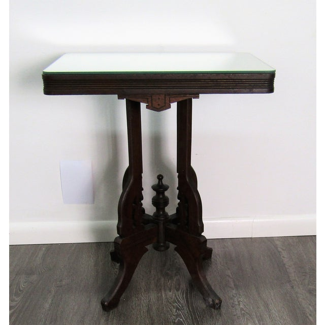 1950s English Traditional Mirror Topped Pedestal Carved Wood Table For Sale In West Palm - Image 6 of 6