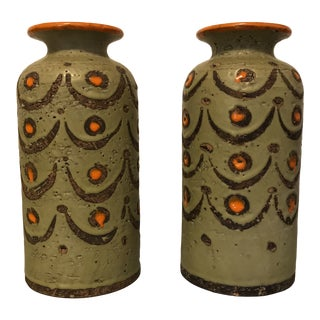 1950s Italian Pottery Vases - a Pair For Sale