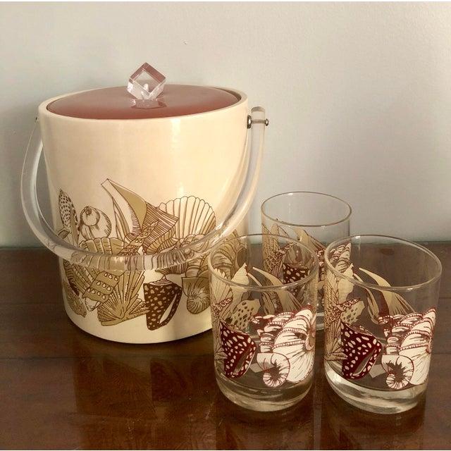 Acrylic Seashell Ice Bucket & Matching Glasses - Set of 4 For Sale - Image 13 of 13