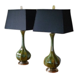 Table Lamps (Pair) Mid-Century Tapered Blown Glass in Murano Style Swirl of Colors For Sale