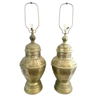 Vintage Brass & Copper Moroccan Lamps - a Pair For Sale