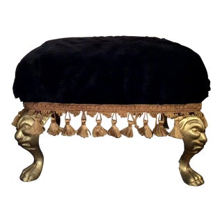 Vintage Fur and Gilt Iron Gothic Face Footstool For Sale