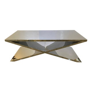 Vintage X Base Cocktail Table Polished Stainless Steel Italian Modern For Sale
