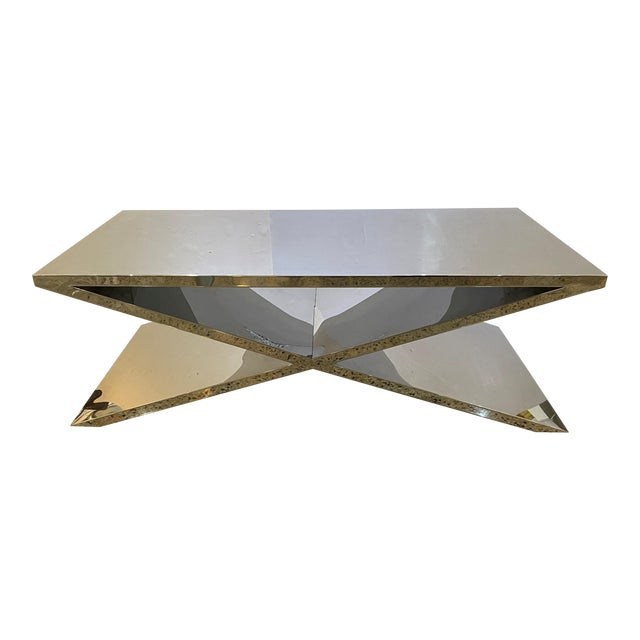 X Base Cocktail Table Polished Nickel Plated Italian Modern For Sale