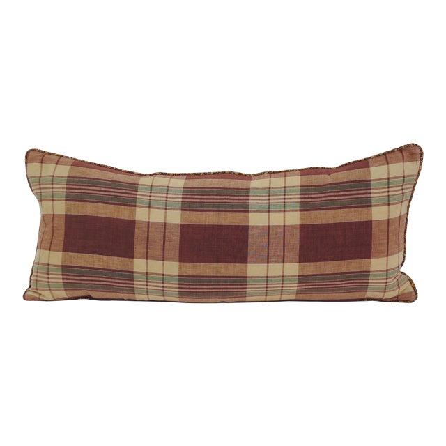 Japanese Shima Plaid Pillow For Sale