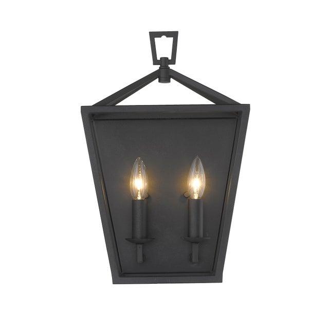 Black Ponce City 2 Light Sconce, Forged Black For Sale - Image 8 of 8