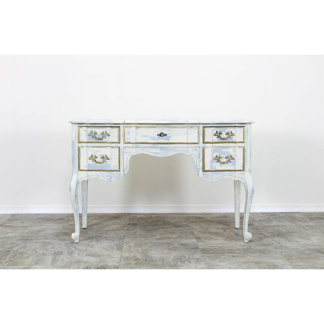 French Provincial White Shabby Chic Vanity Desk For Sale - Image 9 of 13