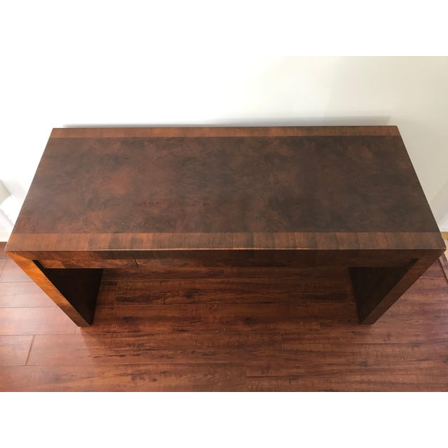 Vintage Burl Wood Parsons Writing Desk by Hekman Furniture Company For Sale - Image 9 of 12