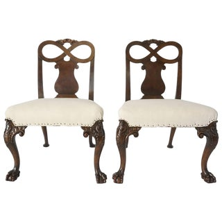 George II Style Carved Walnut Side Chairs, England, Circa 1880 For Sale