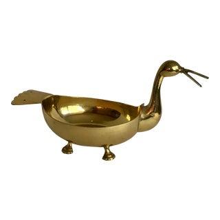 Mid Century Modern Brass Bird Bowl Dish For Sale