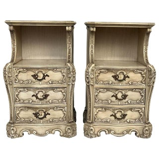 Carved French Rococo Style Pair of NightStands With Open Shelve, Circa 1930s For Sale