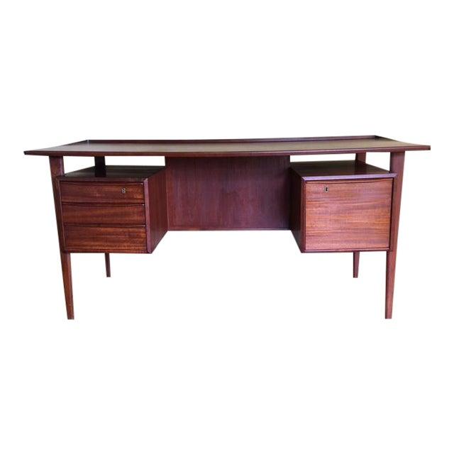 Danish Teak Floating Top Desk For Sale