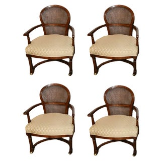 Set of Cane-Back Game Chairs on Castors