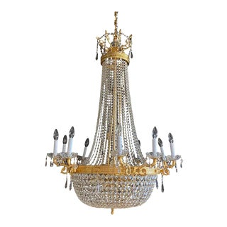 Louis XVI Style Gilt Metal Chandelier Re-Gilded & Rewired For Sale