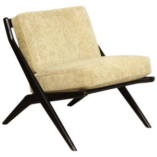1960s Vintage Folke Ohlsson Ebonized Scissor Slipper Chair For Sale
