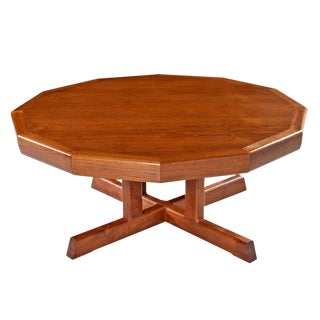 Danish Modern Dodecagon Circular Teak Coffee Table Made in Canada For Sale