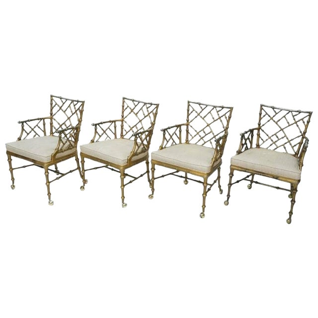1970s Hollywood Regency Phyllis Morris Metal Bamboo Armchairs - Set of 4 For Sale