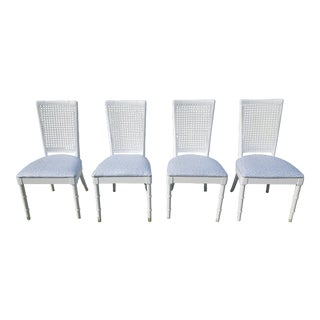 Set of 4- White Palm Beach Regency Faux Bamboo Caned Dining Chairs