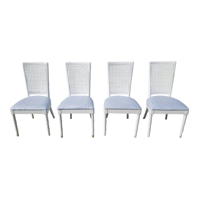 Set of 4- White Palm Beach Regency Faux Bamboo Caned Dining Chairs For Sale