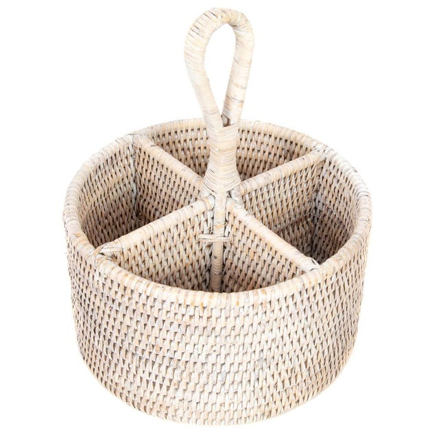 Not Yet Made - Made To Order Artifacts Rattan Round 4 section Caddy/Cutlery Holder in White Wash For Sale - Image 5 of 5