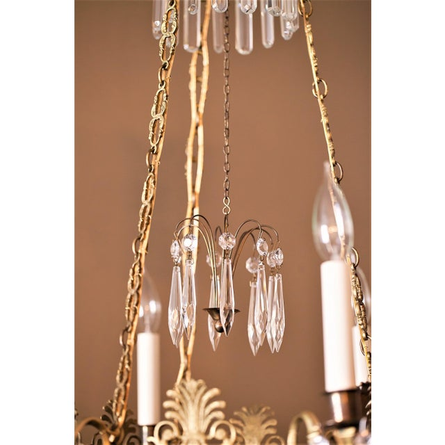 Neoclassical Style 6-Light Brass and Crystal Chandelier, Sweden, Circa 1890 For Sale In Washington DC - Image 6 of 10