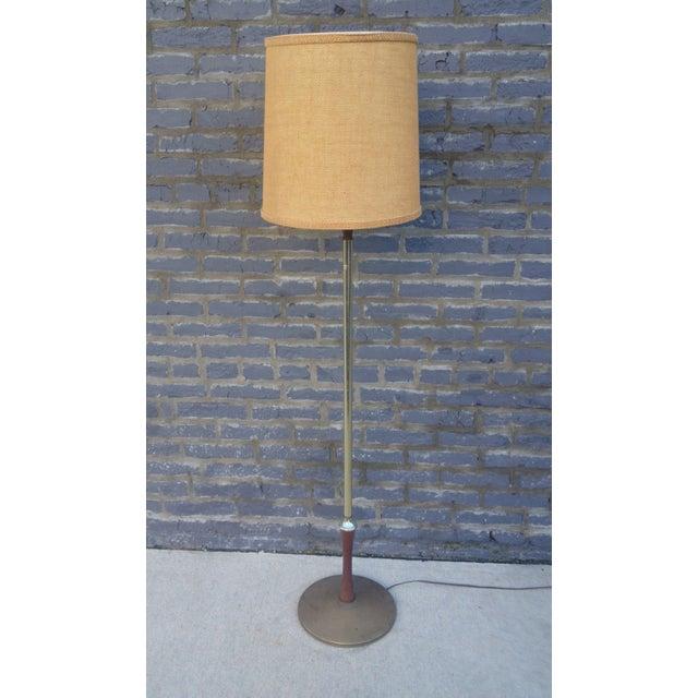 Mid Century Brass Floor Lamp w/Wood Accent - Image 6 of 7