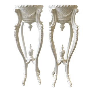 Decorative White Painted Planter Pedestals - a Pair For Sale
