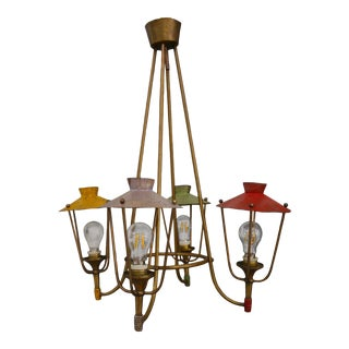 Lantern Chandelier 50 Years Italian For Sale