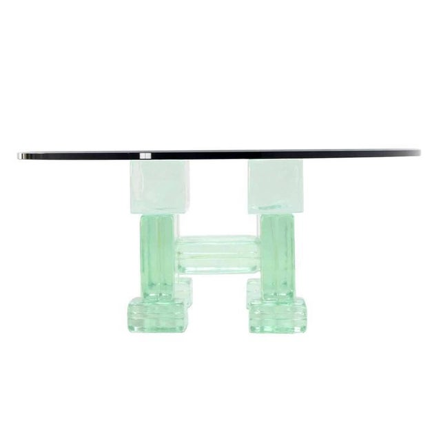Transparent Solid Glass Blocks Glass Top Coffee Table For Sale - Image 8 of 9