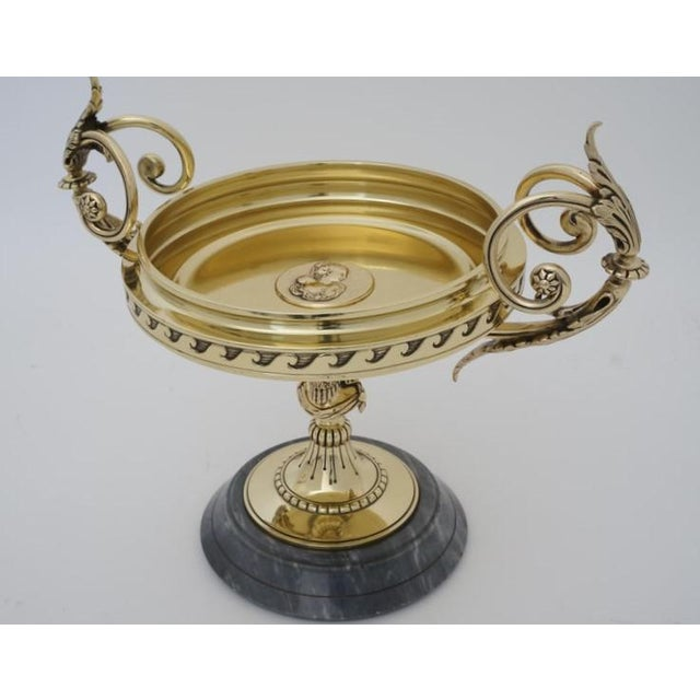 Bronze Antique Tazza Bronze on a Gray Marble Base - Neoclassical Ornamental Bowl on Pedestal For Sale - Image 8 of 11