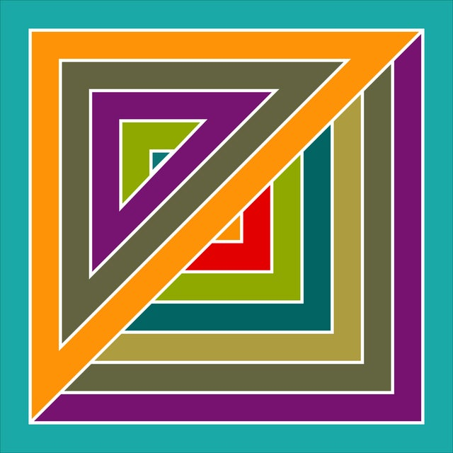 Inspired by the works of Frank Stella, this piece uses very sharp angles and a ranges of colors that bring a 60s vibe to...